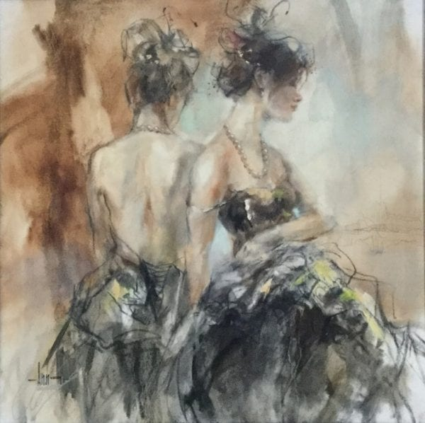 painting of two women in evening dresses by Anna Razumovskaya