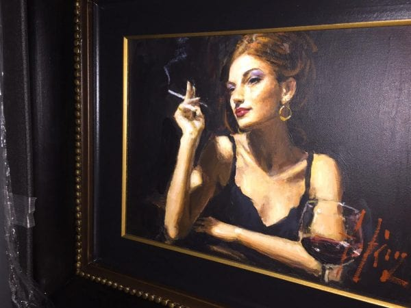 original painting of red headed woman at bar by fabian perez