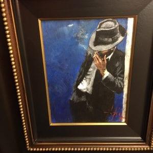 Fabian Perez Man In Black Suit Original Painting