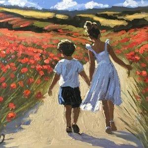sherree valentine daines original oil painting of children in poppy field