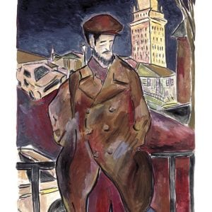 limited edition print of man on a bridge by bob dylan