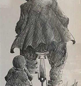 Alexander Millar original pencil sketch of gadgie on bicycle