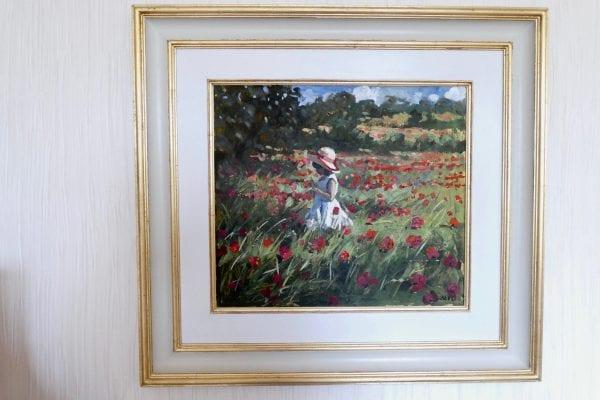 sherree valentine daines painting child in poppy field